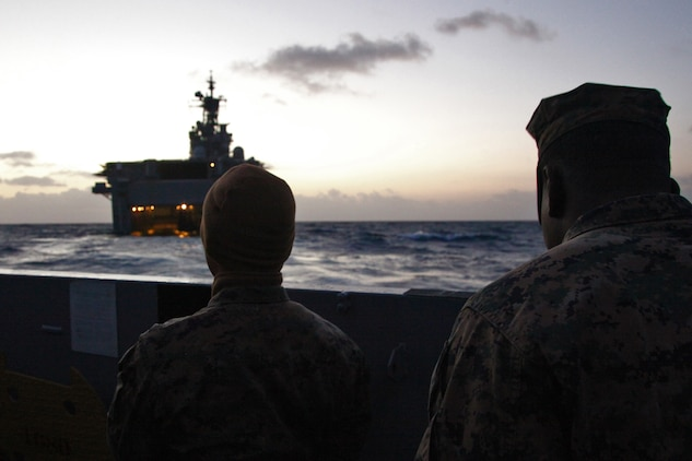 Marines from the 15th Marine Expeditionary Unit, Command Element, debark from the USS Peleliu in a Landing Craft Utility, Feb. 13, during the last phase of Exercise Iron Fist 2012.  The exercise is a bilateral training event between the 15th Marine Expeditionary Unit and the Japanese Ground Self Defense Force and encompassed all aspects of the Marine Air Ground Task Force.
