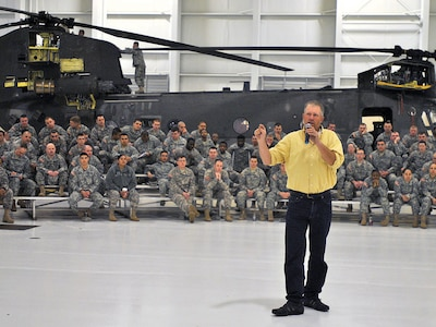Jim Dultmeier, MADD speaker, talks about how drunk driving has impacted his life. Dultmeier spoke to Soldiers with the 601st ASB Feb. 3 at Marshall Army Airfield.
