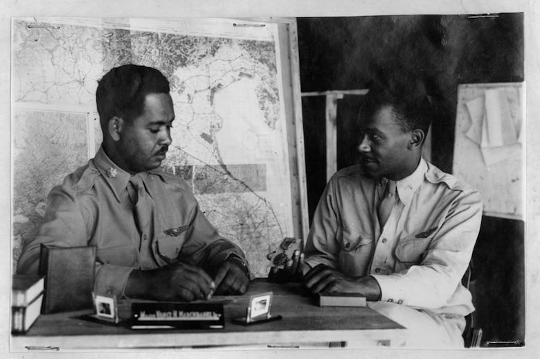Maj. (Dr.) Vance H. Marchbanks Jr. interviewing 1st Lt. Felix J. Kirkpatrick