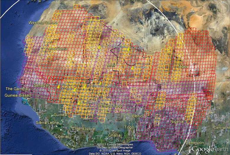 A map of West Africa depicting the areas of satellite imagery captured during the Mali deployment. The red areas indicate efforts to collect 2.5-meter panchromatic imagery while the purple indicates 5.0-meter efforts.