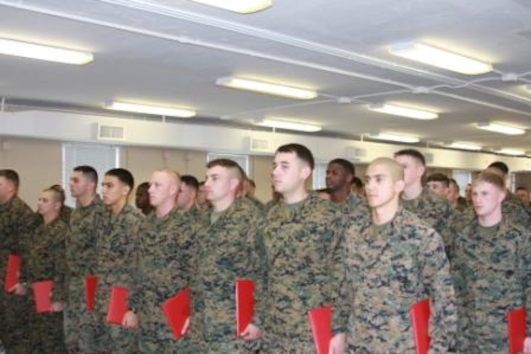 MARINE CORPS BASE CAMP LEJEUNE, N.C. - Marines from 5th Battalion, 10th Marine Regiment, 2nd Marine Division, recently graduated from an in-house Corporal's Course held on base. Graduates must consistently achieve a mastery level of 80 percent or higher on all graded events.