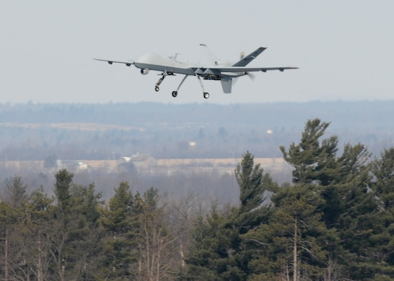 A MQ-9 Reaper takes off from Wheeler Sack Army Airfield (WSAAF) at Fort Drum, New York on 14 Feb 2012.  The MQ-9 is from the 174th Fighter Wing which launches and recovers its aircraft at WSAAF.  (Photo by Tech. Sgt Ricky Best/RELEASED)