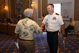 """Honolulu District Commander Lt. Col. Douglas B. Guttormsen recently attended the Association of Pacific Ports (APP) winter conference at Ko'olina on Oahu and presented a briefing called, the """"U.S. Army Corps of Engineers: Your Partner in the Pacific."""""""