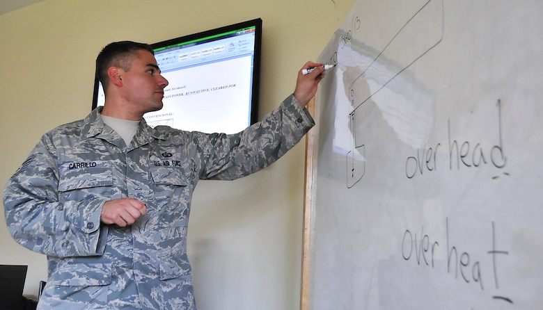 Tech. Sgt. Aaron Carrillo, 571st Mobility Support Advisory Squadron air traffic control air advisor, discusses overhead patterns during the control tower fundamentals block Feb. 6.  The MSAS Airmen, representing 15 Air Force specialties, are working side-by-side with Honduran Air Force members in developing seven core competencies of air base defense, air traffic control, aircraft maintenance, aircrew survival, communications, generator maintenance and safety.  (U.S. Air Force photo by Tech. Sgt. Lesley Waters)