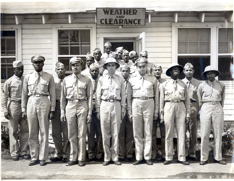 Personnel of the Tuskegee weather detachment, circa 1944. (Front row, left to right) Lt. Grant Franklin, Lt. Archie Williams, Capt. Wallace Reed, Lt. John Branche, Lt. Paul Wise and Lt. Robert Preer. (courtesy photo)