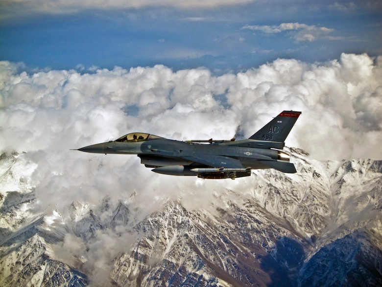 An F-16C Fighting Falcon with the 177th Fighter Wing, New Jersey Air National Guard, on a mission over Afghanistan on Oct. 23, 2011. (U.S. Air Force photo)