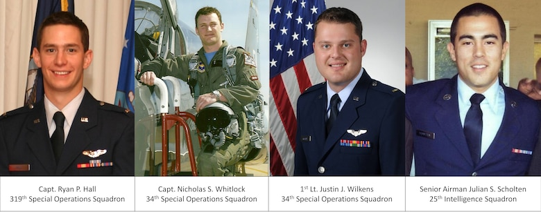 Capt. Ryan P. Hall from the 319th Special Operations Squadron, Capt. Nicholas S. Whitlock and 1st Lt. Justin J. Wilkens from the 34th Special Operations Squadron and Senior Airman Julian S. Scholten from the 25th Intelligence Squadron died Feb. 18 when their U-28A was involved in an accident near Camp Lemonnier, Djibouti, located in the Horn of Africa. No other personnel were on board the aircraft. (U.S. Air Force photo illustration by Senior Airman Joe McFadden) (RELEASED)