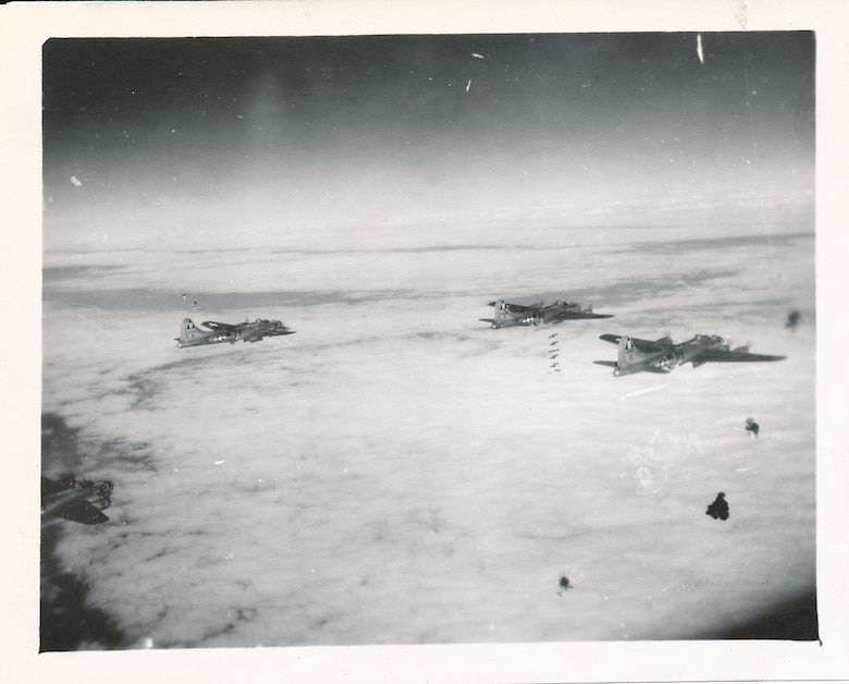 92nd Bombardment Group B-17s drop their munitions over Germany in 1944. (Courtesy photo)