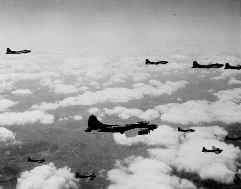 92nd Bombardment Group B-17s on their way to their target in Nazi-occupied Europe during WWII. The 92 BG operated from airfields in England during the war. (Courtesy photo)