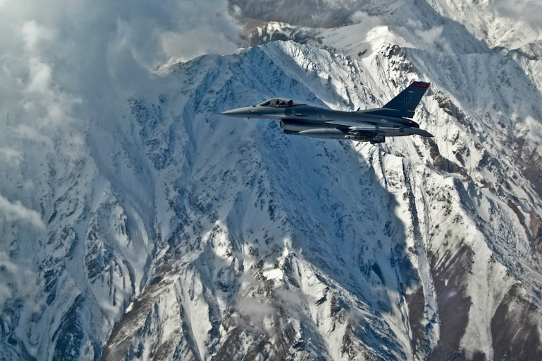 An F-16C Fighting Falcon with the 177th Fighter Wing, New Jersey Air National Guard, on a mission in Afghanistan on Oct. 23, 2011. (U.S. Air Force photo)