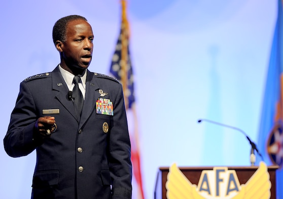 Gen. Edward A. Rice Jr., commander of Air Education and Training Command, addresses Airmen and defense industry professionals about the future of Air Force learning at the Air Force Association's 2012 Air Warfare Symposium in Orlando, Fla., Feb. 23. (U.S. Air Force photo/Scott Ash)