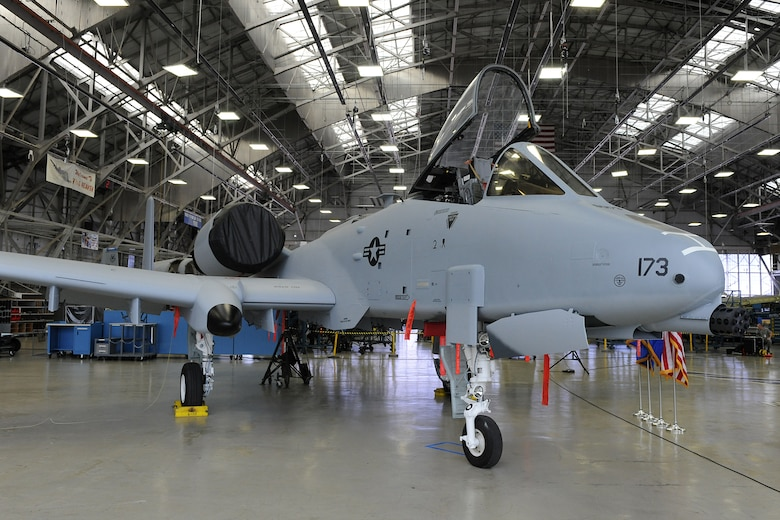 The first A-10 to roll out after having its wings replaced with new ones sits at the ceremony held Feb. 15 at Hill Air Force Base to celebrate its roll-out. (U.S. Air Force photo by Alex Lloyd)