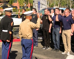 VALENCIA, Calif. — Nearly 100 future service members take the Oath of Enlistment Feb. 24 in a roped off parking lot of the Westfield Valencia Town Center mall in front of the Armed Forces' newest Career Center here. The U.S. Army Corps of Engineers Los Angeles District manages the lease of the 5,147 square foot facility, one of more than 250 in Southern California, Arizona and Nevada.