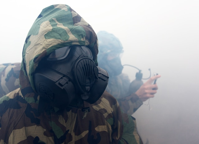 Marines and Sailors with Command Element, 24th Marine Expeditionary Unit, conduct annual chemical, biological, radiological and nuclear defense training aboard Camp Lejeune, N.C., Feb. 27, 2012. This training enabled the Marines to learn how to use the new M50 joint service general purpose gas mask.