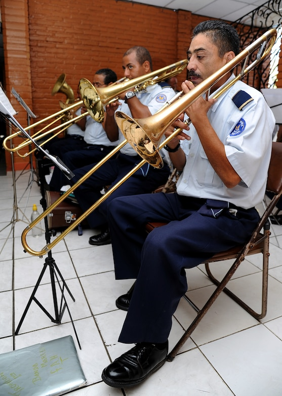 The Honduran air force band provided music before and after the closing ceremony, as well as the national anthem for both the United States and Honduras in Tegucigalpa, Honduras, Feb. 23.  (U.S. Air Force photo by Tech. Sgt. Lesley Waters)