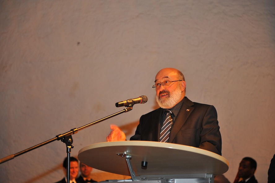 NIEDERWEIS, Germany – Josef-Peter Mertes, former Trier district government president, speaks to 52nd Fighter Wing leadership and German civic leaders about the importance of U.S. and German partnership during the 52nd FW Honorary Commanders Banquet at Niederweis Castle here Feb. 24. The banquet is held to ceremoniously induct German civic leaders into the honorary commander program through a tradition of passing the 52nd FW guidon to the new honored commander. The honorary commander program allows squadron, group and wing commanders to bolster and sustain partnerships with local leaders by working alongside one another to talk about and resolve community issues. (U.S. Air Force photo by Airman 1st Class Dillon Davis/Released)