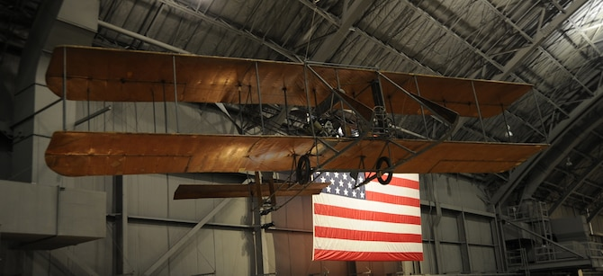 This Model B Flyer became the first model produced in quantity by the Wright brothers. It is representative of Signal Corps Airplanes Nos. 3 and 4, purchased by the Army in 1911 and used for training pilots and in aerial experiments.  (U.S. Air Force photo).