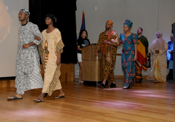 Traditional African dress is showcased during the Black History Month celebration luncheon sponsored by Andersen's multicultural committee Feb. 24.  (U.S. Air Force photo/Senior Airman Jeffrey Schultze)
