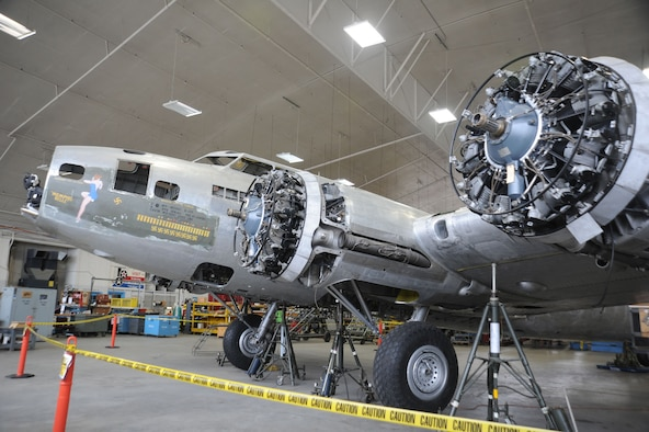 "DAYTON, Ohio (12/2011) -- The B-17F ""Memphis Belle"" in the restoration hangar at the National Museum of the United States Air Force. (U.S. Air Force photo)"