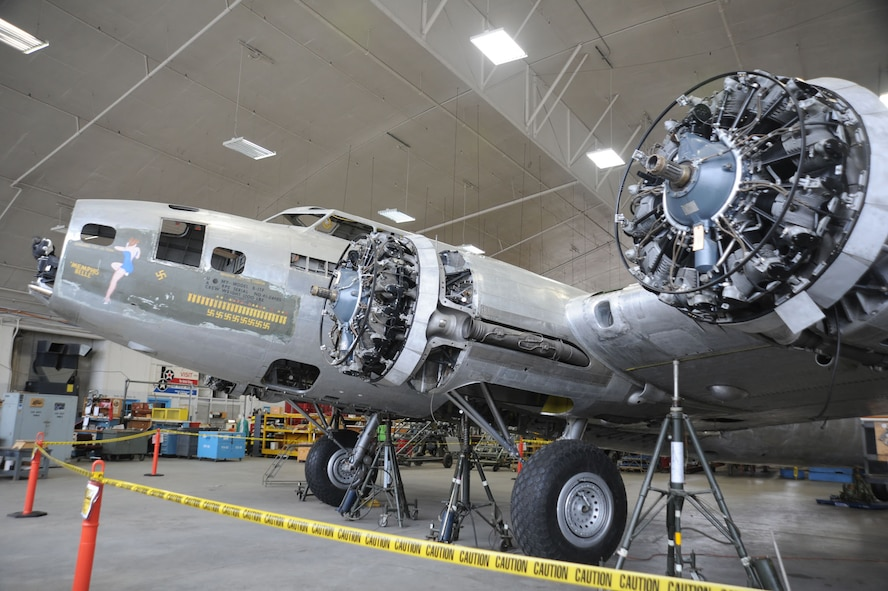 """DAYTON, Ohio (12/2011) -- The B-17F """"Memphis Belle"""" in the restoration hangar at the National Museum of the United States Air Force. (U.S. Air Force photo)"""