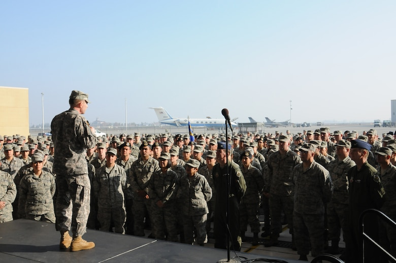 Gen. Charles H. Jacoby, Jr., Commander, North American Aerospace Defense Command and U.S. Northern Command, addresses the men and women of the 144th Fighter Wing, California Air National Guard, during his visit on January 5, 2012.  During his visit, the general toured the base, engaged with various Airmen throughout the wing and flew in the backseat of an F-16D Fighting Falcon.  (U.S. Air Force photo by Master Sgt. David J. Loeffler)