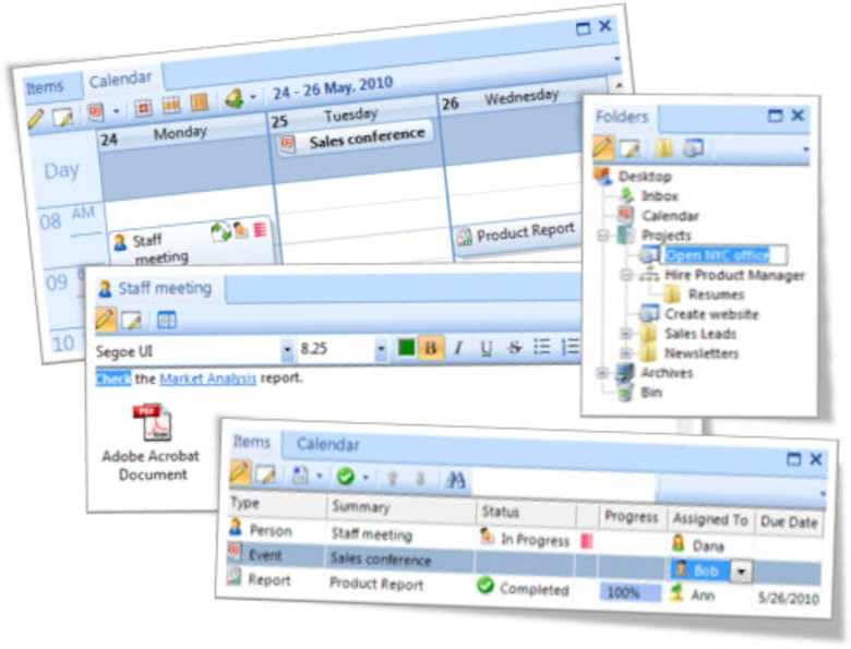 The Outlook integration allows the task creation to work rapidly; with a  click of a
