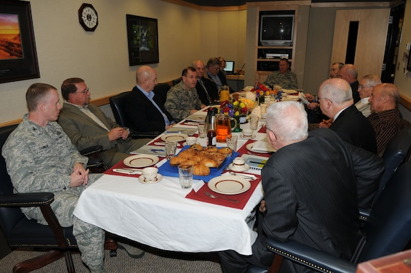Brig. Gen. David Fountain hosted a morning breakfast briefing for nine retired general officers of the Utah Air National Guard on base January 5. Combined the generals represent hundreds of years of collective command experience. Their experience and insights of the past help the Utah ANG face the challenges of the future. (U.S. Air Force photo by Technical Sgt. Kelly K. Collett)(RELEASED)