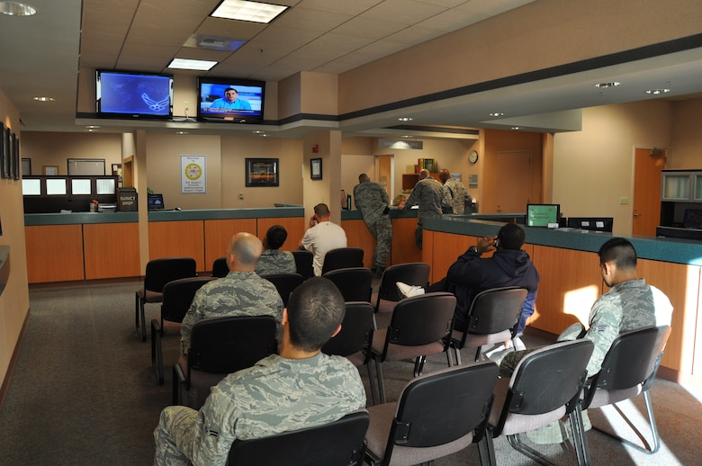 Members of Team Beale wait in a newly designed customer lobby layout at the Administrative Support Flight office at Beale Air Force Base, Calif., Jan. 3, 2012. The idea for the new lobby came from customer and staff feedback. (U.S. Air Force photo by Staff Sgt. Robert M. Trujillo)