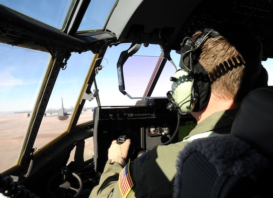 A pilot with the 522nd Special Operations Squadron flies an MC-130J Combat Shadow II aircraft, over the skies of New Mexico, Jan. 5, 2012.  The 522nd SOS, assigned to Cannon Air Force Base, N.M., flies the MC-130J which provides capabilities such as in-flight refueling, infiltration/exfiltration and aerial delivery resupply of special operations forces.  (U.S. Air Force photo by Airman 1st Class Alexxis Pons Abascal)