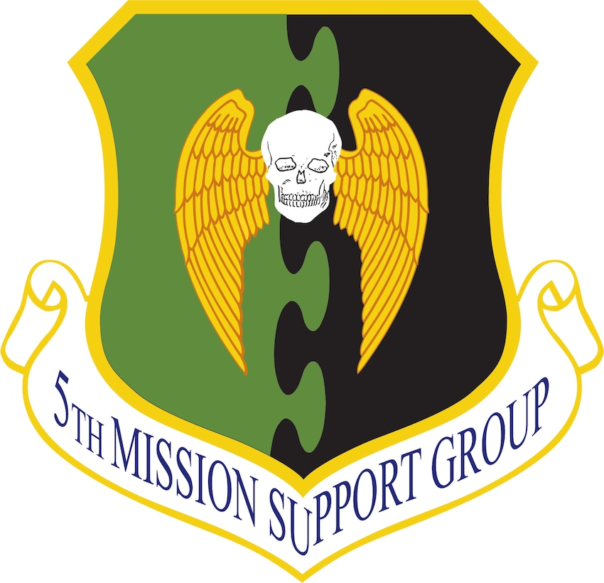 5th Mission Support Group (Color). Image provided by 5 BW/HO. In accordance with Chapter 3 of AFI 84-105, commercial reproduction of this emblem is NOT permitted without the permission of the proponent organizational/unit commander. Image is 7 x 7 inches @ 300 dpi