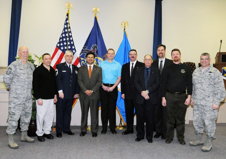 Members of the 111th Fighter Wing, Pa. Air National Guard, who retired in 2010, were recognized at an annual Retirement Ceremony held Mar. 5, 2011 in the Headquarters Auditorium, Building 203, Willow Grove Air Reserve Station, Pa. Shown (left to right) are: Command Chief Master Sgt. Richard Mertz (111th FW, Official Party), Chief Master Sgt. Dave Soldano (111th LRS, 26 years), Chief Master Sgt. Josek Hreczan (111th MDG, 40 years), Tech. Sgt. Juan Gonzalez, 111th AMXS, 24 years), Master Sgt. Joseph Bradfield (111th SFS, 25 years), Master Sgt. Paul Sparling (111th SFS, 24 years), Lt. Col. Thomas Doyle (111th FW, 33 years), Master Sgt. Michael Palmer (111th MXS, 31 years), Senior Master Sgt. Robert Walker (111th AMXS, 20 years), and Col. Tony Carrelli (111th FW Commander, Official Party).