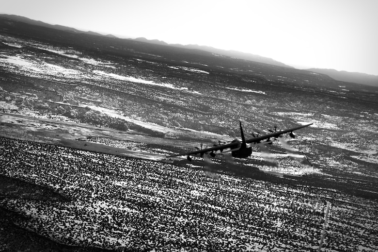 A 522nd Special Operations Squadron MC-130J Commando II aircraft, flies over the skies New Mexico, Jan. 4, 2012.  The MC-130J provides in-flight refueling, infiltration/exfiltration and aerial delivery resupply of special operations forces.  (U.S. Air Force photo by Senior Airman James Bell)