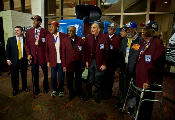 """The first day of the Air Education and Training Command Symposium in San Antonio ended with the premiere of the movie """"Red tails."""" Eight surviving Tuskegee Airmen attended. Star of the film Nate Parker introduced the film to 1,950 AETC Airmen and guests. (U.S. Air Force photo/Senior Airman Marleah Miller)"""