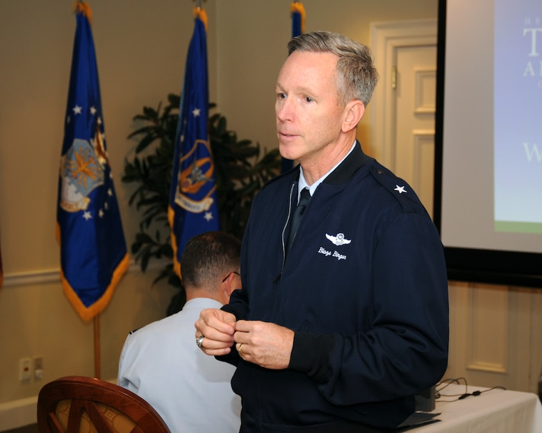 Brig. Gen. William B. Binger, 10th Air Force commander, spoke to members of the Fort Worth Airpower Foundation at the Colonial Country Club, Fort Worth, Texas, Jan. 10.