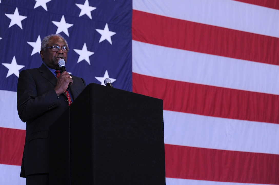 Congressman James E. Clyburn speaks to Team Shaw about his interactions with Martin Luther King Jr. and life experiences at the MLK Luncheon at Shaw Air Force Base, S.C., Jan. 13, 2011. The luncheon is an annual event held to celebrate and remember King, and the impact he had on the United States of America. (U.S. Air Force photo by Airman 1st Class Hunter Brady/Released)