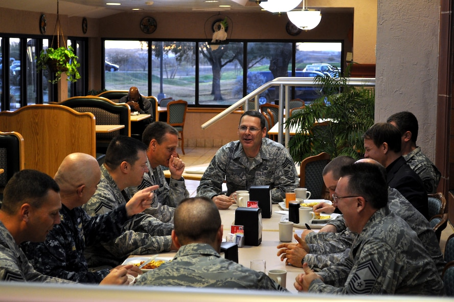 "LACKLAND AIR FORCE BASE, Texas -- Command Master Chief Daniel Miller, senior enlisted leader for U.S. Cyber Command, National Security Agency and Central Security Service, speaks to fellow E-9s during a ""Chief's Call"" at Gott Dining Facility here Jan. 12. Miller visited 24th Air Force and subordinate units of Air Forces Cyber during his 24th AF and AFCYBER update, to include recognition of some of the unit members for their outstanding work. The enlisted leaders exchanged views on trends in military culture, supervisory needs and ways of improving established programs during the Chief's Call. (U.S. Air Force photo by William Parks)"