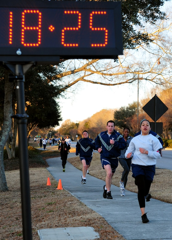 Talisa Bell completes the 2.5 mile run in honor of Martin Luther King Jr. day at Joint Base Charleston, Jan. 13. Bell was the first female to complete the run with a time of 18:26 and is with the 628th Medical Group. (U.S. Air Force photo/Staff Sgt. Katie Gieratz)
