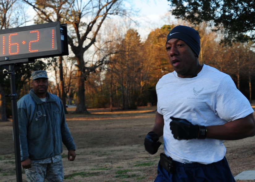 Technical Sgt. Darius Roberson crosses the finish line first after completing the 2.5 mile run in honor of Martin Luther King Jr. Day at Joint Base Charleston – Air Base Jan. 13. More than 500 runners competed in the event. Roberson is assigned to the 437th Aircraft Maintenance Squadron. (U.S. Air Force photo/Staff Sgt. Katie Gieratz)