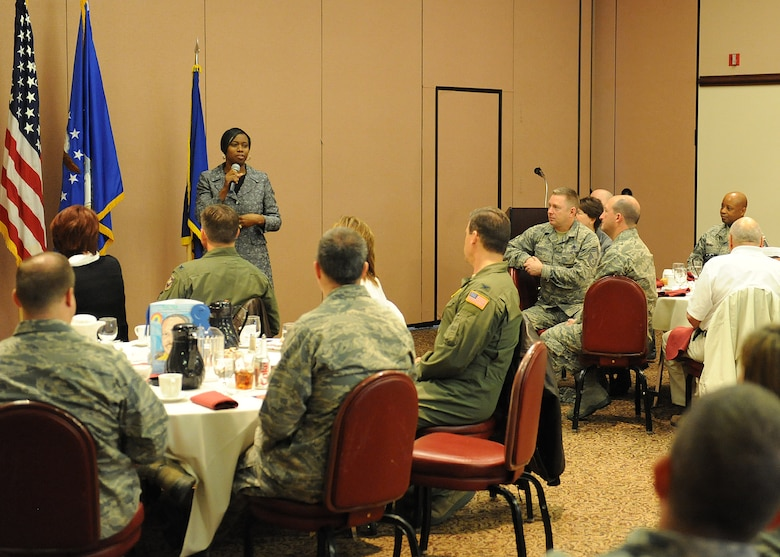 Rhonda Staley-Brooks, president and chief executive officer of Big Brothers, Big Sisters, speaks to Team Beale members during the Dr. Martin Luther King Jr. observance breakfast at the Recce Point Club Jan. 17, 2012. The breakfast was held to remember, celebrate and act on Dr. King's achievements. (U.S. Air Force Photo by John Schwab/RELEASED)