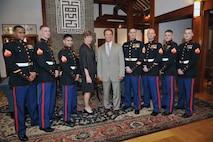 Governor Arnold Schwarzenegger visits members of Marine Corps Security Guard Detachment Seoul, South Korea.