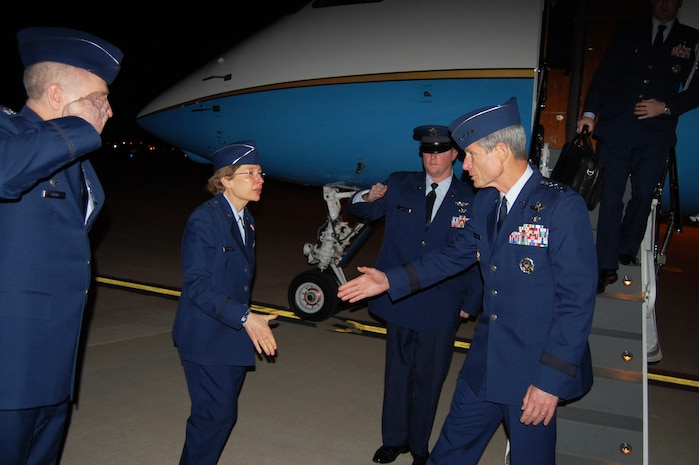 Air Force Chief of Staff Gen. Norton Schwartz is greeted by Brig. Gen. Carol Timmons, Assistant Adjutant General for Air, Delaware National Guard, as 166th Airlift Wing Commander Jonathan Groff, Delaware Air National Guard, salutes Gen. Schwartz after he arrives at the New Castle ANG Base, New Castle, Del., the evening of Jan. 19, 2012. (U.S. Air Force photo/Tech. Sgt. Benjamin Matwey)