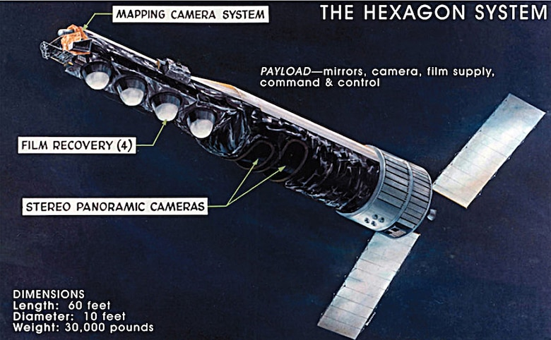 Basic elements of the HEXAGON KH-9, with mapping camera. (Photo courtesy of National Reconnaissance Office)