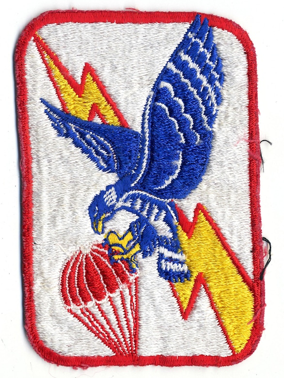 Later informal emblem of the USAF's 6593rd Test Squadron, which operated C-119 and C-130 aircraft to catch satellite payloads in midair. (U.S. Air Force photo)