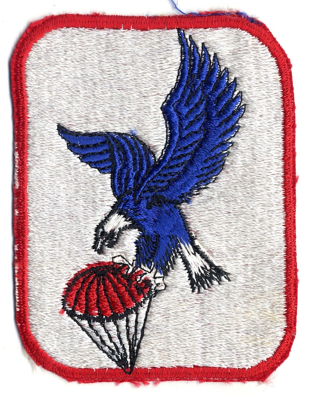 Early informal emblem of the USAF's 6593rd Test Squadron, which operated C-119 and C-130 aircraft to catch satellite payloads in midair. (U.S. Air Force photo)