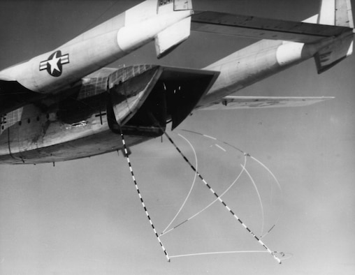 Satellite catching gear deployed from an Air Force C-119J. These aircraft recovered CORONA satellite film capsules beginning in 1960, and later gave way to the faster, more powerful C-130 Hercules aircraft. (U.S. Air Force photo)