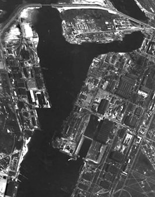 GAMBIT KH-7 image of the Severodvinsk shipyard in the USSR, May 29, 1967. (Photo courtesy of U.S. Geological Survey)