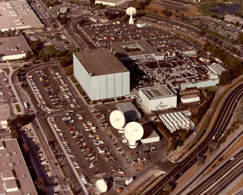 "The Air Force Satellite Test Center, Sunnyvale, Calif. This facility was popularly known as the ""Blue Cube."" (Photo courtesy of kadiak.org)"