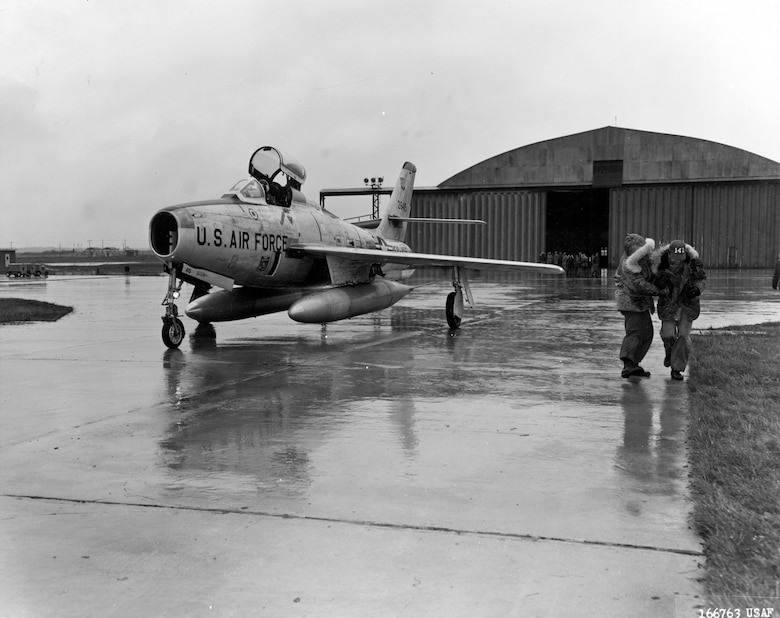 Arrival of an F-84F of the New Jersey Air National Guard at Chaumont Air Base, France, as part of Operation Stair Step. More than 100,000 ANG and Air Force Reserve personnel, with planes and equipment, were deployed to Europe because of the Berlin crisis. (U.S. Air Force photo)