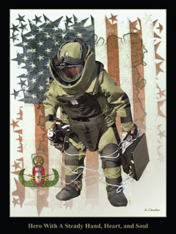 This USAF poster, created by Ken Chandler, honors EOD Airmen by illustrating some of their equipment, protective clothing and their instantly recognizable specialty badge. (This image is copyrighted, is the property of Ken Chandler and is available only to members of the armed forces and military organizations.)