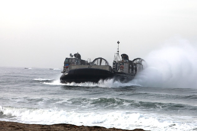 A Landing Craft Air Cushion comes ashore during a familiarization exercise aboard Camp Pendleton, Calif., Jan. 24. The event was part of Exercise Iron Fist 2012, a bilateral amphibious training exercise between U.S. Marines and the Japanese Ground Self Defense Force.